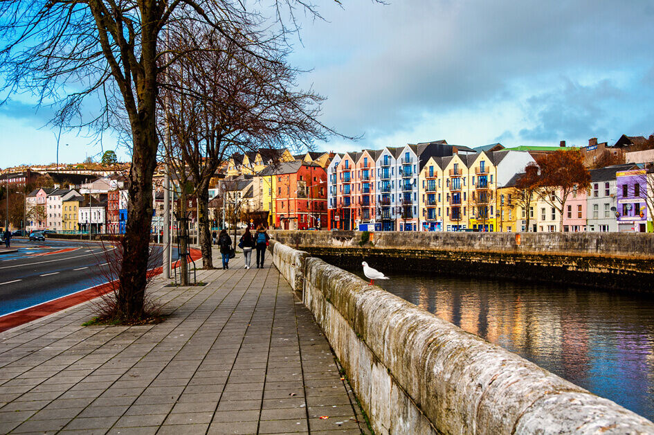 Cork city, colourful buildings situated beside a river