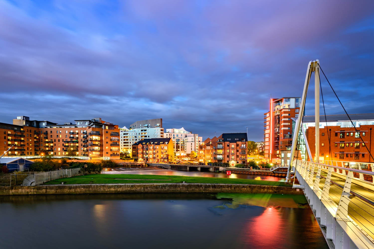 Panoramic view of Leeds city from Clarence Dock