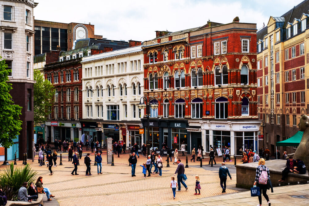 Street in Birmingham, people walking